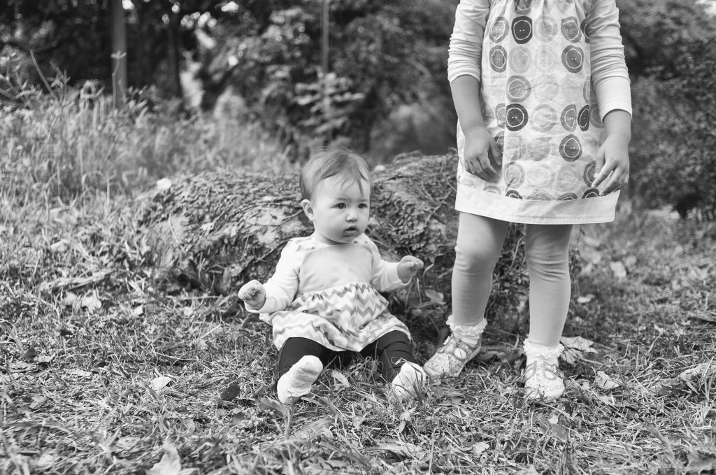 black and white sisters portrait in Saikung Lions Park